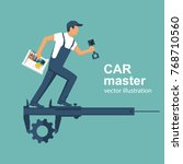 auto mechanic with toolbox and... | Shutterstock .eps vector #768710560