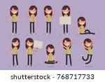 set of female character in... | Shutterstock .eps vector #768717733