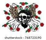 punk skull wild rose guitar...   Shutterstock .eps vector #768723190