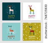 collection of 4 christmas card... | Shutterstock .eps vector #768725830