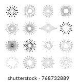 set of isolated sunburst rays... | Shutterstock . vector #768732889
