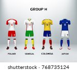 mockup of group h football... | Shutterstock .eps vector #768735124