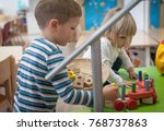 little caucasian brother and... | Shutterstock . vector #768737863