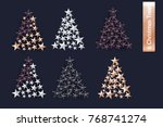 merry christmas set of rose... | Shutterstock .eps vector #768741274