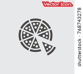 pizza icon isolated sign symbol ... | Shutterstock .eps vector #768743278