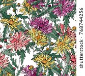 seamless pattern with... | Shutterstock .eps vector #768744256