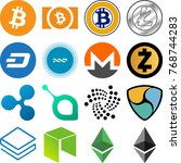 cryptocurrency icon collection  ... | Shutterstock .eps vector #768744283