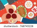 christmas dinner and eating... | Shutterstock .eps vector #768745228