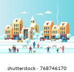 snowy city. urban winter... | Shutterstock .eps vector #768746170