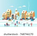 snowy city. urban winter... | Shutterstock .eps vector #768746170