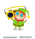 cute elf in star shape glasses... | Shutterstock .eps vector #768751924