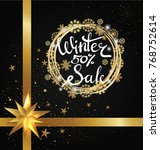 winter sale 50   poster with... | Shutterstock .eps vector #768752614