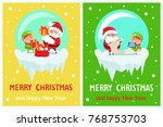 happy new year merry christmas... | Shutterstock .eps vector #768753703