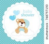 baby shower card with cute... | Shutterstock .eps vector #768757150