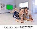 lovely couple enjoying free... | Shutterstock . vector #768757276