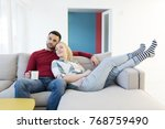 happy young couple hugging and... | Shutterstock . vector #768759490