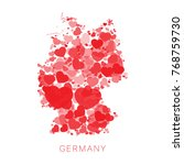 mosaic of red hearts of... | Shutterstock .eps vector #768759730
