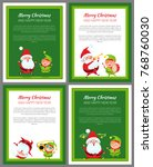 set of four new year cards with ... | Shutterstock .eps vector #768760030