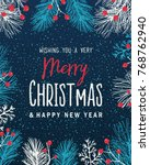 christmas background with fir... | Shutterstock .eps vector #768762940