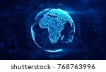 digital globe made of plexus... | Shutterstock . vector #768763996