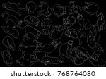 set of cats. silhouette in... | Shutterstock . vector #768764080