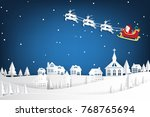 santa claus and reindeer with... | Shutterstock .eps vector #768765694
