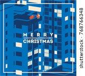 merry christmas minimalistic... | Shutterstock .eps vector #768766348
