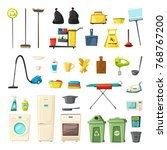 household set and cleaning... | Shutterstock .eps vector #768767200