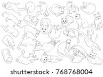 vector set of many cats.... | Shutterstock .eps vector #768768004