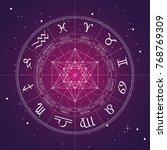 zodiac wheel  vector zodiac... | Shutterstock .eps vector #768769309