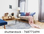 wooden stool with glass vase on ... | Shutterstock . vector #768771694