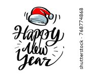 santa hat and happy new year... | Shutterstock .eps vector #768774868