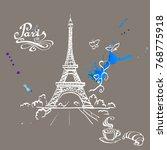 tour eiffel romantic vector... | Shutterstock .eps vector #768775918