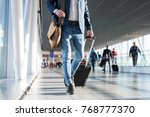 man with shoulder bag and hand... | Shutterstock . vector #768777370