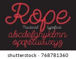 rope alphabet vector font on... | Shutterstock .eps vector #768781360