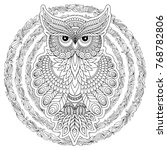 hand drawn zentangle owl  bird... | Shutterstock . vector #768782806