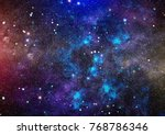 stars of a planet and galaxy in ... | Shutterstock . vector #768786346