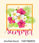 frame background with tropical... | Shutterstock .eps vector #768788800