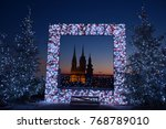 Advent in Zagreb - Night panorama of Zagreb cathedral at the time of Advent - New Year