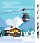 resort with hotel with a ski...   Shutterstock .eps vector #768792328