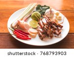 grasshopper fried insect plates ... | Shutterstock . vector #768793903