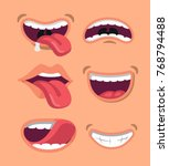 cute man and woman mouth set.... | Shutterstock .eps vector #768794488