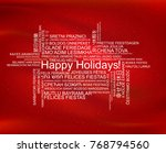 happy holidays in different... | Shutterstock .eps vector #768794560