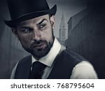 englishman detective  retro... | Shutterstock . vector #768795604