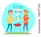 two man with drink fried meat... | Shutterstock . vector #768797293