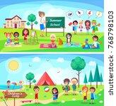summer school and childrens... | Shutterstock . vector #768798103