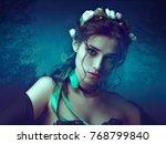 girl death  horror style female ... | Shutterstock . vector #768799840