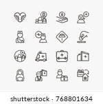 aid family icon set with... | Shutterstock .eps vector #768801634