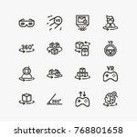 virtual reality icon line set... | Shutterstock .eps vector #768801658