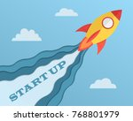 startup concept with rocket... | Shutterstock .eps vector #768801979